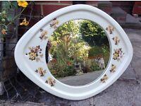 Vintage Ceramic Framed Wall Mirror With Floral Design