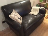 Brown leather 2 seater Sofa and Arm Chair - Good Quality