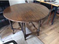 Oak folding dining table