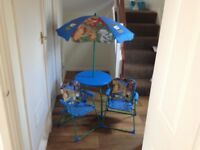 CHILDRENS TABLE CHAIRS AND PARASOL