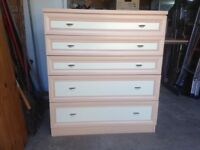 Very solid Beech veneer bedroom furniture. Five pieces which stand well together.