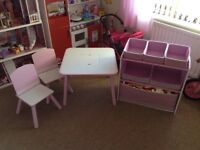 Wooden table and chairs and matching storage unit