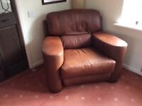 Leather wide seat armchair