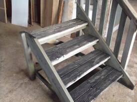 Heavy solid wood caravan steps