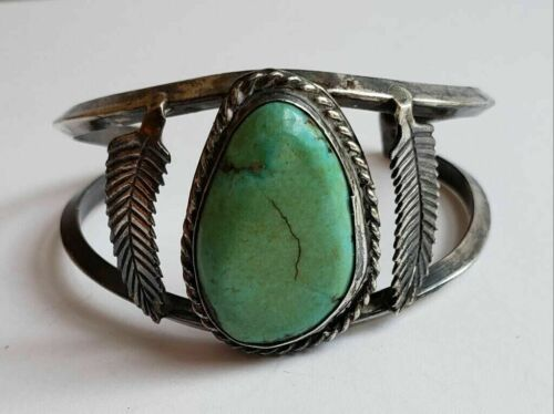 Nice Older Native American Sterling Silver Turquoise Cuff