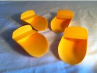 4x Tupperware rocker scoop for rice, flour, sugar, cereal, even pet food! Yellow.