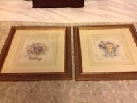 2 matching picture frames with mounts 40cm x 40cm, embroidered vase of flowers can be removed