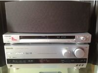 Panasonic av receiver with speakers and Sony DVD player