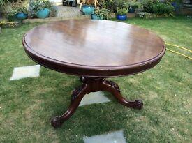 Antique Victorian mahogany tilt top table