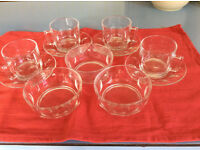 Set of 4 glass cups & saucers with 3 matching bowls