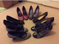 ladies shoes, size 37/4. Selection of six pairs, all with small heels, good condition