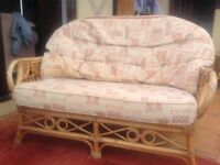 Conservatory furniture set bamboo cream &a brown settee, two chairs large & small table, plant pot