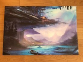 Brand New canvas print of a sci-fi futuristic city. (with cardboard box)