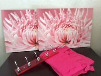 Pink curtains and 2 matching canvas, pink coat hanger