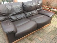 Two Leather, Two Seater Sofas