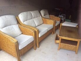 Wicker conservatory set for sale.