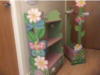 Painted wooden shelving and clothes stand
