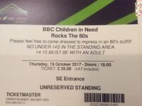 BBC Children in Need 'Rock The 80s' concert tickets