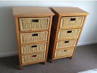 Two wicker drawer units
