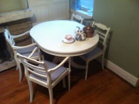TABLE and 4 chairs rustic/ farmhouse cottage/SHABBY CHIC-upcycled aprox 4ft 3 ft