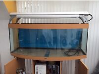 Great Condition Juwel 450L Bow front fish Tank complete with halide lighting, Cabinet & Equipment .