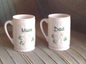 Belleek Mum and Dad Shamrock Mugs