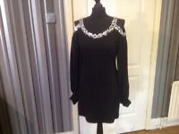 PRETTY. BLACK DRESS , JEWEL NECK LINE BNWT..