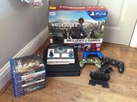 Ps4slim500gb with 11 games(inc Lego dimensions with base),3 wireless controllers and charging base