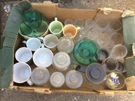 Box of cups, glasses and jars ideal for carboot or holiday homes