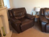Electric reclining leather suite