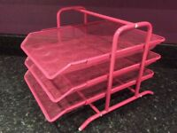 Pink metal letter/file tray organiser from Ikea