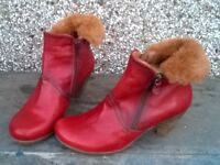 Red Dress Leather Boots Size 4 / 38 Hispanitas