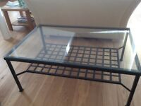 Coffee table, glass top, metal frame with lattice metal shelf (IKEA)