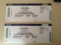 CONCERT TICKETS: 2 X Christy Moore tickets, Manchester, Sunday 6th may 8.00
