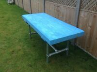 INDUSTRIAL STYLE GARDEN SLEEPER TABLE and 2 Benches
