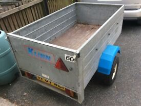 "Trailer, KLINN, 5' x 3' x 18"", rated 500Kg (half tonne), Good Condition, with Spare Wheel."