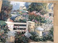 Very large tapestry wall hanging (cottage garden)