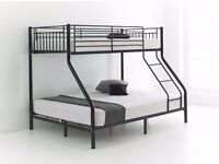 BRAND NEW TRIO METAL BUNK BED FRAME FREE DELIVERY WITH MATTRESS