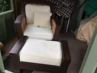 Large hardwood and wicker chair, FREE to collect