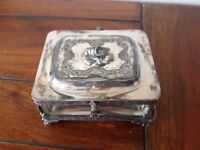 Glass pickle dish in silver plate tray with lid