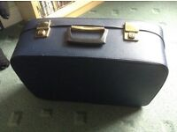 Vintage suitcase, navy blue, hard case, fully fastenable, red fabric lining, good condition