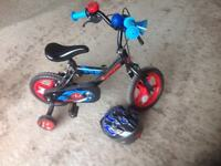 Boys Urchin bicycle and helmet