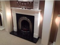 Limestone Mantel & Hearth With Victorian Cast & Gas or Electric Fire
