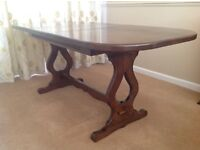 Solid oak refectory style extending dining table