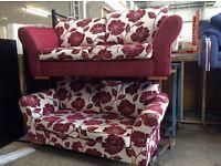 Burgundy flowered sofas
