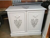 Vintage grey shabby chic sideboard excellent quality furniture with damask heart detail