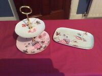 Wedge Wood 2 tier cake stand and plate