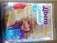 Brand new, sealed bags, LIbero Comfort Nappies. SIze 7 and Size 6 Available. £4.50 Each bag.