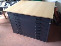 7 drawer metal storage unit, with detachable wooden top, ideal for tool storage