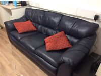 FREE 3 seater blue leather sofa